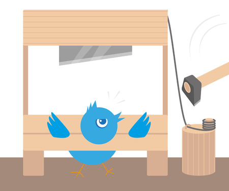 embargo: Blue angry bird in guillotine  Conceptual illustration