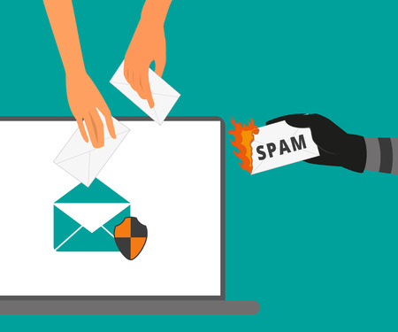 anti virus: Email protection from spam  Spam letter is burning Illustration