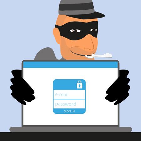 ladron: Ladrón tiene una clave para una cuenta de redes sociales Vectores