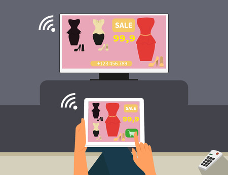 Multiscreen interaction  Woman is purchasing red dress online in TV shop using tablet pc Vector