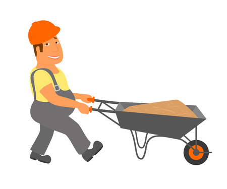 laborer: Builder with trolley is going to the project  Isolated on white Illustration