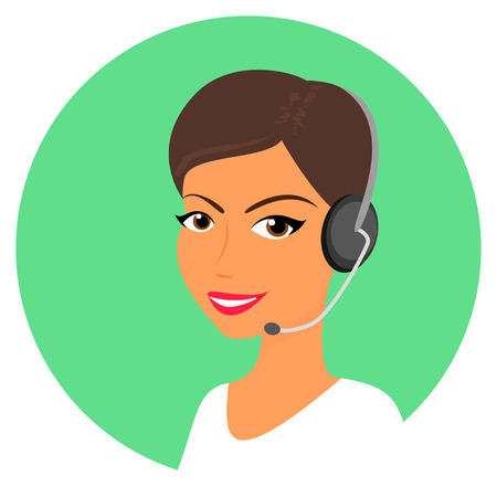Female call centre operator with headset  Round icon Vector