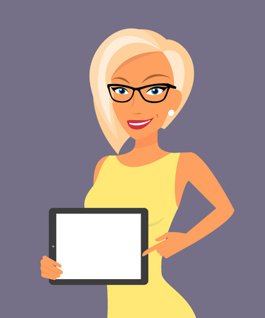 vrouw met tablet: Blonde woman showing something displayed on tablet pc