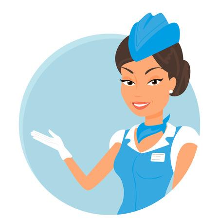 flight attendant: Female stewardess wearing blue suit  Round icon