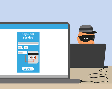 computer crime: Thief connected to your laptop while you doing online payment