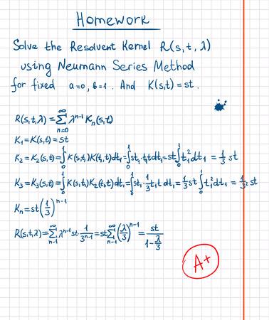 ядра: Резольвентная ядро с помощью Неймана серии метода рисованной на школьную газету Иллюстрация