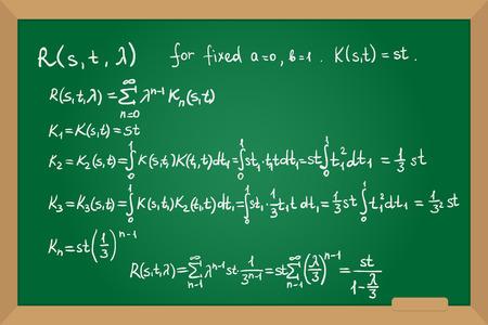 kernel: Resolvent kernel using Neumann Series method hand drawn on green board