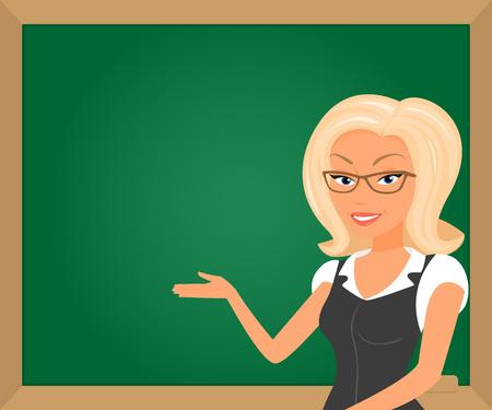 teacher in class: Blonde teacher showing something on green board