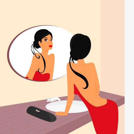 mirrow: Brunette sensual woman looking at mirrow in WC