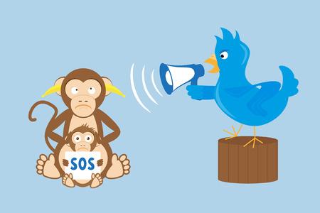 Blue bird is shouting through a megaphone on monkeys Stock Vector - 30821851