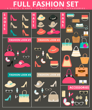 Full womens fashion collection of bags, shoes, hats and accessories.  Vector