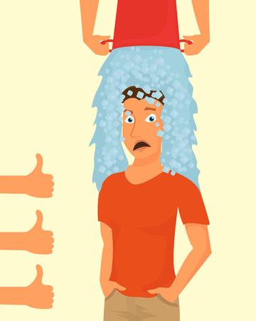 seau d eau: Seau à glace Défi. Guy participe à un dumping un seau d'eau glacée sur la tête