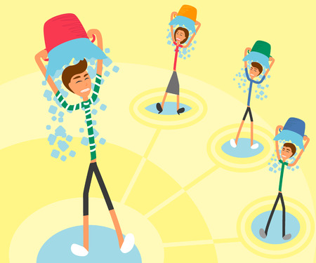 Ice Bucket Challenge. Handdrawn illustration of four persons linked to one idea Vector