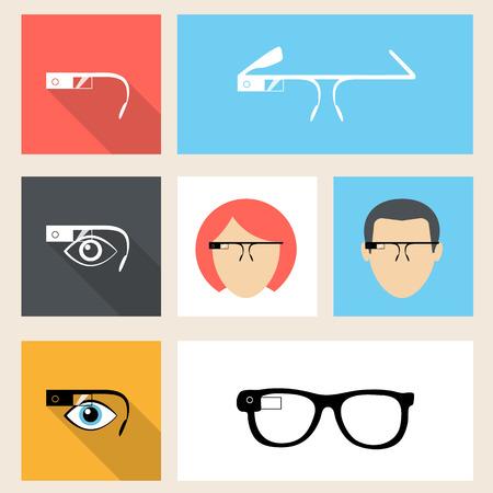 glass modern: Google glasses square seven icons in flat design. Illustration