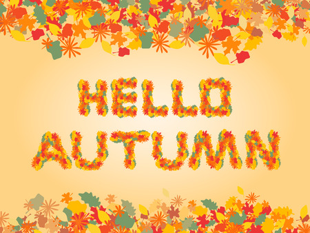 Hello autumn background with text of yellow leaves Vector