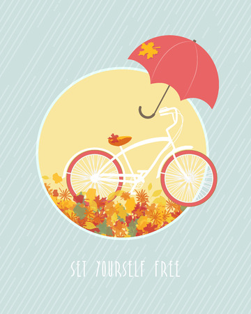 Autumn postcard template with bicycle and red umbrella Vector