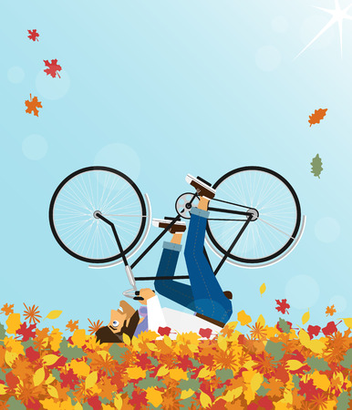 Hipster Character rides a bicycle in the sky - autumn season Vector