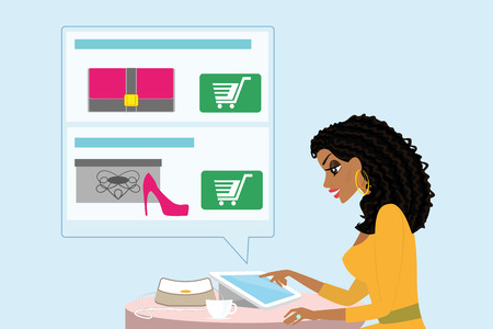 shopping cartoon: Pretty blackhair woman sitting alone in the cafe and doing shopping online.