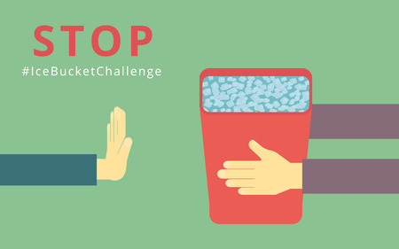 Human hands holds ice bucket and another hand block it