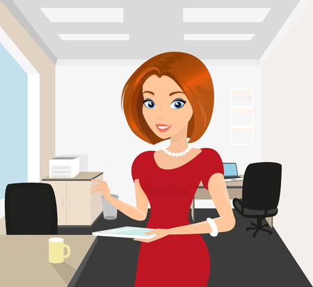 business woman tablet: Pretty woman in the office holds a tablet pc in her hand.