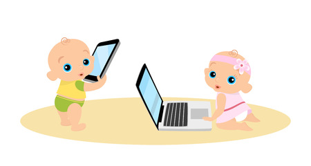 girl with laptop: Little girl and boy are playing with laptop and tablet pc. Illustration