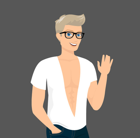 handsome young man: Handsome blond guy wearing blue fashion jeans and white t-shirt, close-up vector illustration. Contains EPS10 and high-resolution JPEG Illustration