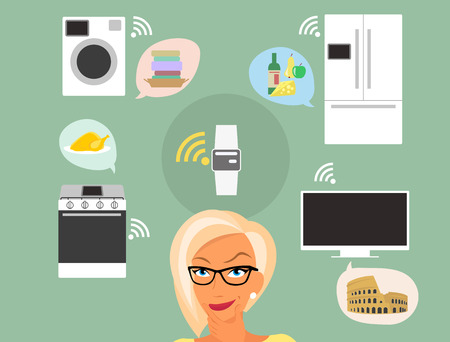 smart woman: Blond woman thinking about smart gadgets at home and applications around her. Illustration