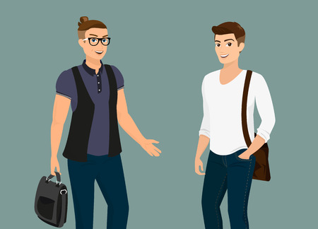 Handsome guys wearing bags isolated on gray