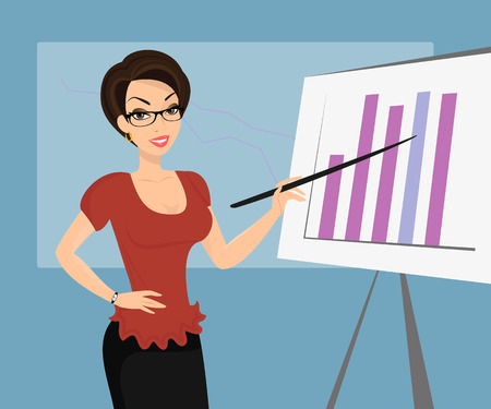 Female teacher is demonstrating a diagram in classroom. Vector