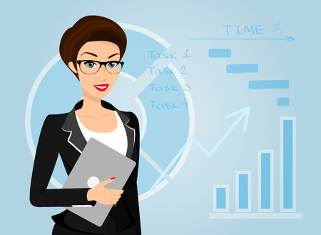 cartoon women: Business woman holds laptop in her hand. Isolated on blue inforgaphic background.