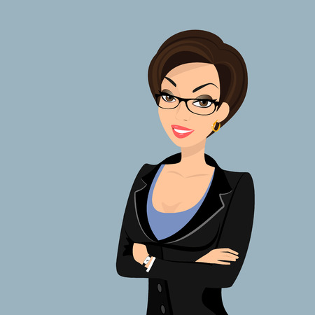 Business woman is wearing black suit isolated on white. Illustration