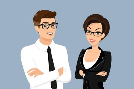 Bedrijfsman en vrouw die op blauwe achtergrond wordt geïsoleerd