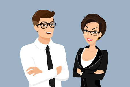 standing: Business man and woman isolated on blue background Illustration