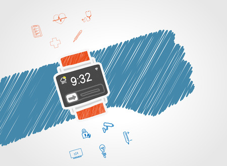 wi fi: Handdrawn vector illustration of functionality electronic wristwatch for people Illustration