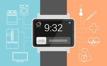 functionality: Vector illustration of functionality electronic intelligence wristwatch for people Illustration