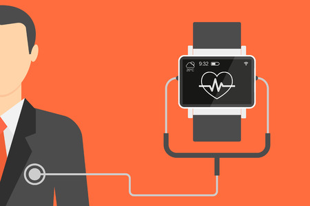 controlling: Vector illustration of electronic wrist watch for controlling heartbeat