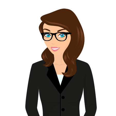 Business lady wearing brown hair and modern glasses.  Isolated on white