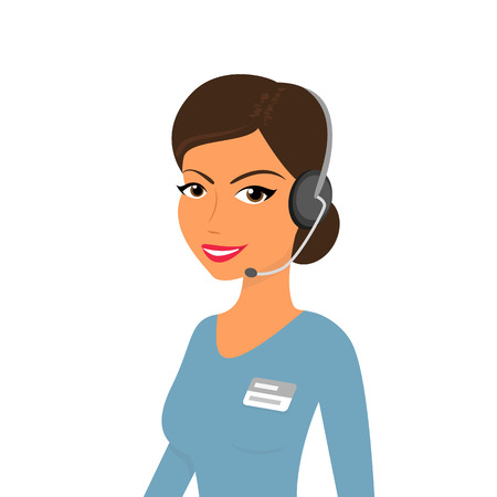 Female call centre operator with headset. Isolated on white Vector