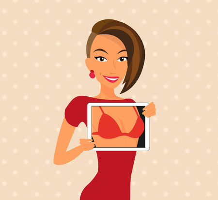 vrouw met tablet: Vrouw draagt rode jurk is flirten met behulp van tablet pc. Dichtbij Stock Illustratie
