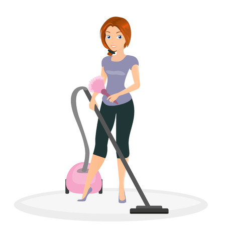 Woman is doing housework with vacuum cleaner. Vector