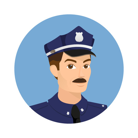 security uniform: Policeman wearing blue uniform in round icon