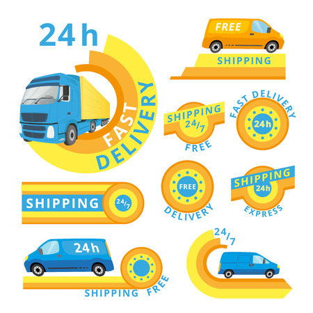cargo truck: set of delivery cars and labels. Illustration