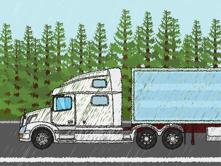 thoroughfare: White american truck driving through green fields Illustration