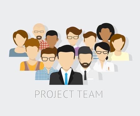 Vector illustration of project team. Flat avatars Çizim