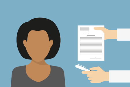 sign contract: Business manager is signing contract. Flat illustration