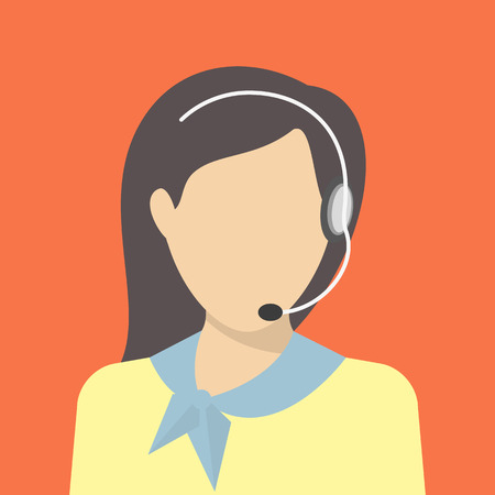 Female call centre operator with headset. Flat moderm style Vector