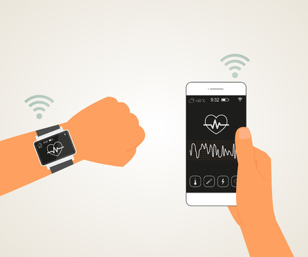 Vector illustration of electronic wrist watch controlling heartbeat connected with smartphone Vector