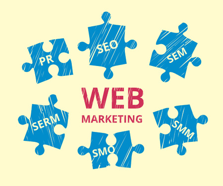 pr: illustration of web marketing us puzzles