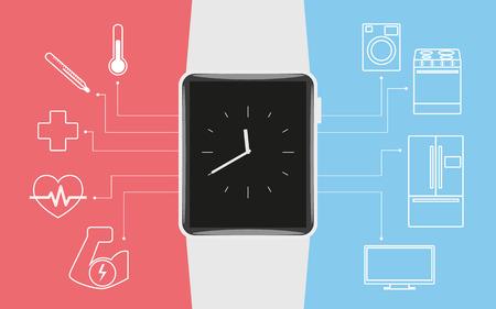 wrist watch: illustration of functionality electronic intelligence wristwatch for life Illustration