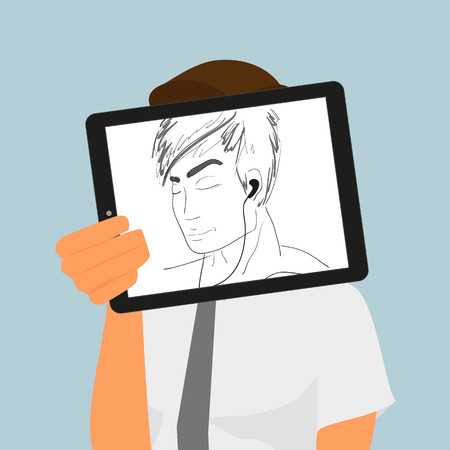 tablet pc in hand: Guy holds tablet pc displaying hand drawing. Illustration